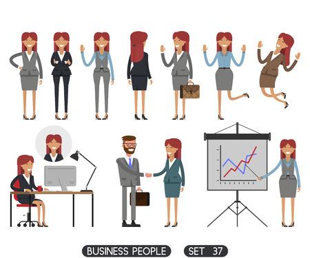 Die arbeitenden Menschen auf weißem Hintergrund. Vektor-Illustration. Verschiedene Bewegungen. Erstellen Sie eine Szene. Geschäftsleute setzen 37.