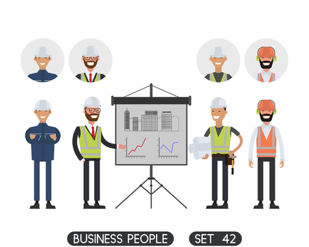 hard hats: Construction workers team and Engineer in hard hats. Business people set 42 Illustration