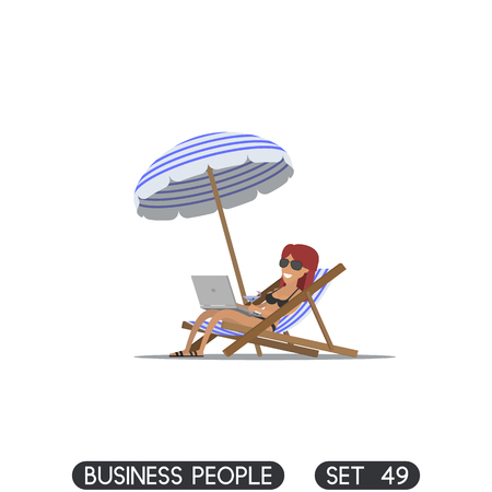 Businesswoman freelancer working on the beach with a laptop. Sun lounger. Beach umbrella Illustration