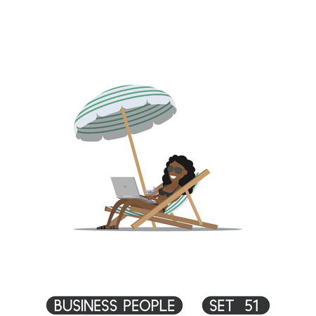 away travel: Beach umbrella. Businesswoman freelancer working on the beach with a laptop. Sun lounger. Illustration
