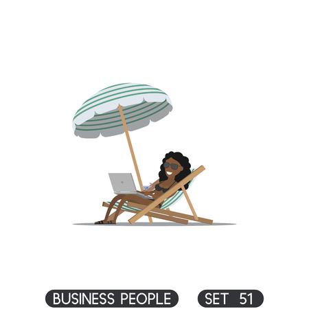 Beach umbrella. Businesswoman freelancer working on the beach with a laptop. Sun lounger. Illustration