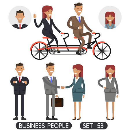 Bicycle tandem riding. Team work. Business people. Office people.Different dress styles. Vector illustration Vetores