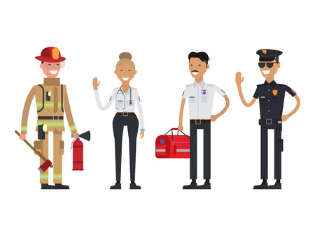 Firefighter, policeman and paramedic. Emergency service. Flat