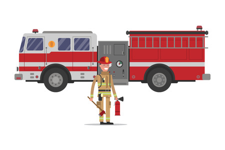 Firefighter in gear with an ax and a fire extinguisher standing in front of fire engine Illustration