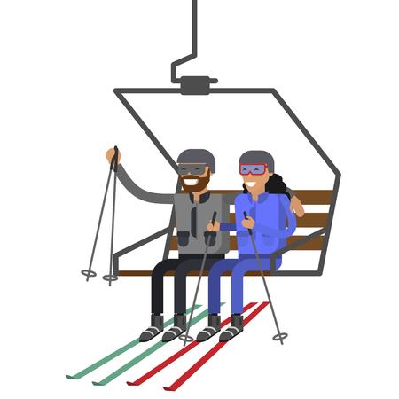 People rise to the ski lift elevator Illustration