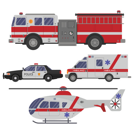 emergency engine: Various emergency vehicles. Ambulance emergency paramedic car, helicopter, police department vehicle and fire engine truck.