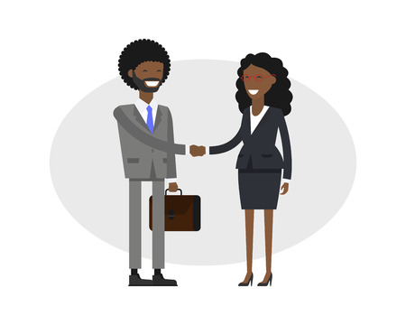 African business people set. People at work with handshaking on white background.