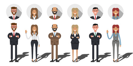 shadow people: Business people set. Flat shadow. Business International team work, working people on white background. Different nationalities and dress styles. Illustration