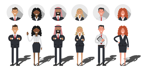 shadow people: Business people set. Flat shadow. Business International team work, working people on white background. Different nationalities and dress styles. Arabic people Illustration
