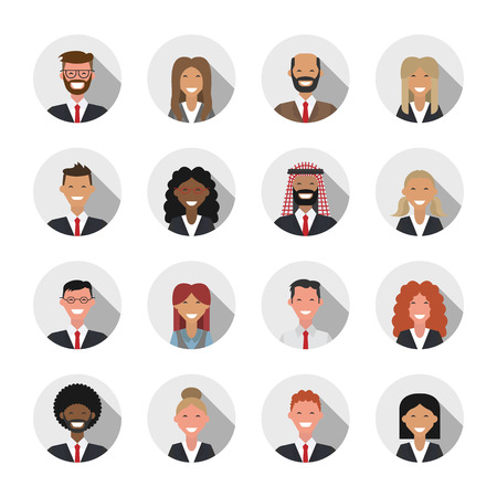 shadow people: Avatar flat shadow design icons. People icons. Vector illustration. Business people set