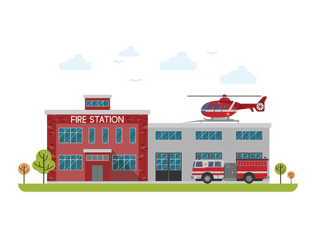 tree service pictures: Fire station. Protection of life, health and property of people. Fire department building