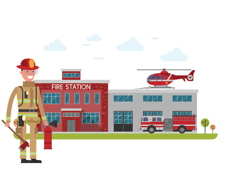 tree service pictures: Fire station. Firefighter. Protection of life, health and property of people. Fire department building Illustration