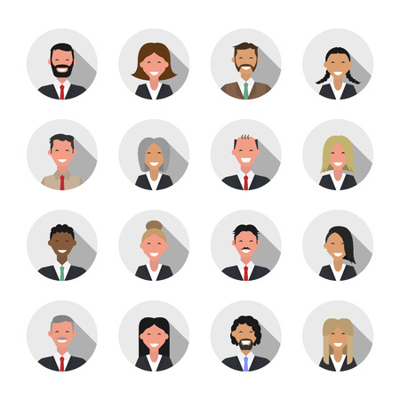 shadow people: Avatar flat shadow design icons. People icons. Business people set