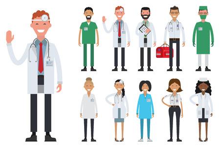 Chirurgo delle infermiere dei medici del gruppo del personale medico dell'ospedale. Illustrazione piatta vettoriale. Archivio Fotografico - 69589837