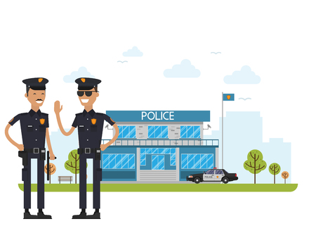 City police station department building and police car in flat style isolated on white background. Policeman Illustration