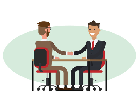 People at work with handshaking on white background. Handshake of two businessmen behind a desk. Vector.