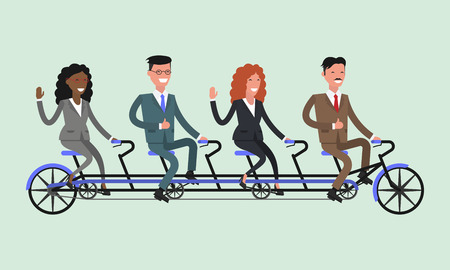 Team work. Business people. Bicycle tandem riding. Office people.Different nationalities and dress styles.  Vector illustration Illustration