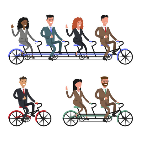 coordinated: Team work. Business people. Bicycle tandem riding. Office people.Different nationalities and dress styles.  Vector illustration Illustration