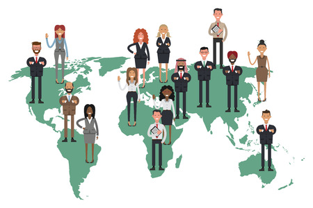 Crowd of business people composing a world map. Vector illustration flat