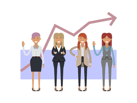 formalwear: Businesswoman group on the background of the schedule. Vector illustration flat