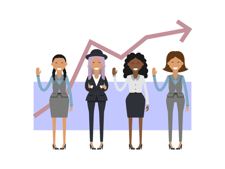 Businesswoman group on the background of the schedule. Vector illustration Illustration