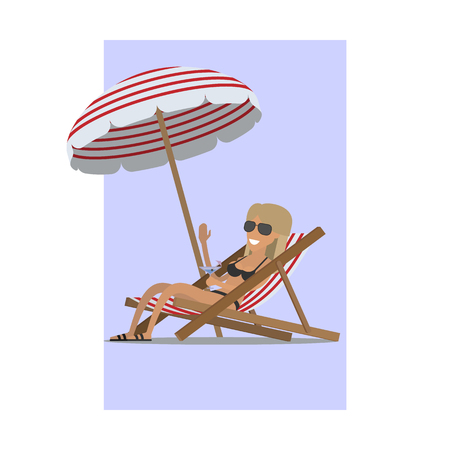 Girl in a swimsuit with a cocktail under a summer umbrella. Vector illustration flat.