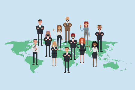 Flat social media and network. Business people composing a world map