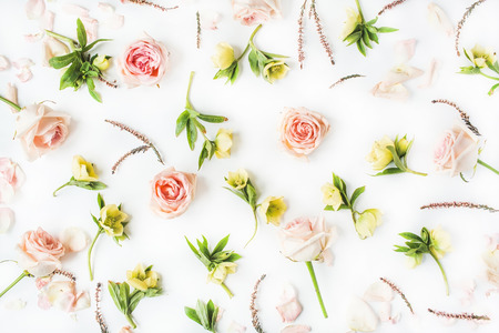 Wallpaper, texture. Pink roses and yellow flowers on white background. Flat lay, top view Zdjęcie Seryjne