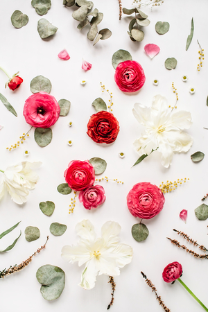 Pattern with pink and red roses or ranunculus, white tulips and green leaves on white background. Flat lay, top view Zdjęcie Seryjne