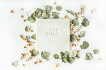 white wedding or family photo album with words