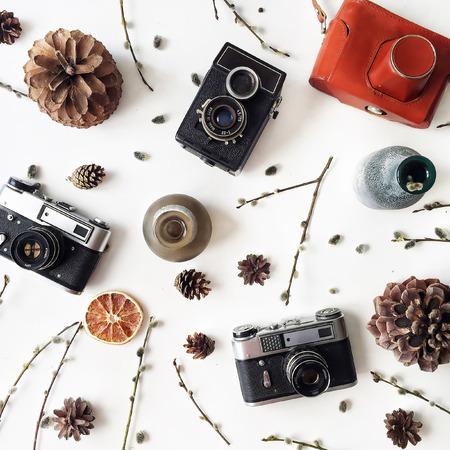 kegels, vintage ouderwetse camera, kandelaars, takken van pussy willow, bladeren en droge sinaasappelen geïsoleerd op een witte achtergrond. plat leggen, bovenaanzicht Stockfoto