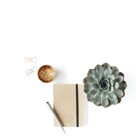 feminini desk workspace with succulent, diary and golden clips on white background. flat lay, top view