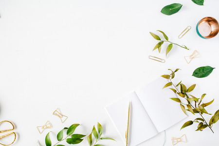 feminine home office workspace mockup with branches, golden pen, clips. flat lay, top view Stock Photo