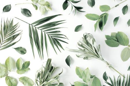 Muster mit Blumen, Zweigen, Blättern und Blütenblättern isoliert auf weißem Hintergrund. flach legen, Draufsicht Standard-Bild - 65013026