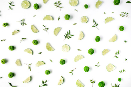 minimal: lime and green branches pattern on white background. flat lay, top view Stock Photo