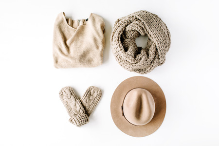 beauty feminine clothes arrangement with hat, mittens, sweater, scarf. flat lay, top view Stock Photo