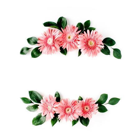 gerbera daisy: Pink gerbera daisy on white background. Flat lay. Frame wreath Stock Photo