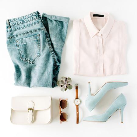 여자 유행 패션은 흰색, 평면 평신도, 상위 뷰에 콜라주 의류