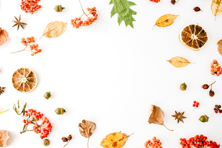 autumn fall flat lay, top view creative frame arrangement.