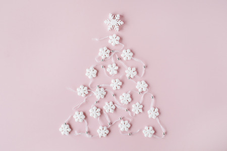 stock photo white christmas tree decoration on pink background christmas wallpaper flat lay top view