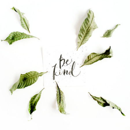 Minimalistic composition with words Be Kind written in calligraphic style on paper with leaf frame on white background. Flat lay, top view