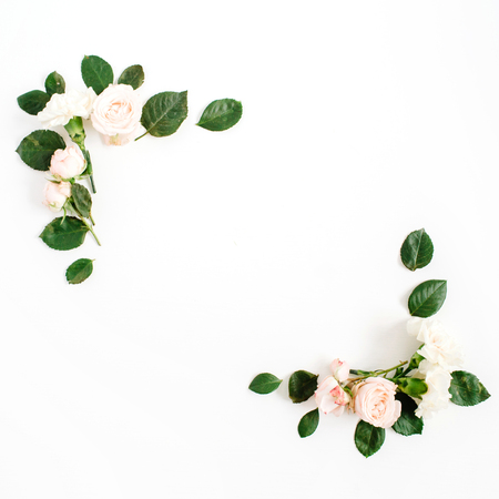 Grenskader met beige roze bloemknoppen en groene die bladeren op witte achtergrond worden geïsoleerd. Plat leggen, bovenaanzicht. Florale achtergrond