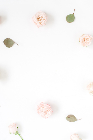 Flower frame made of beige roses, eucalyptus leaf and white carnation on white background. Flat lay, top view. Floral texture background.