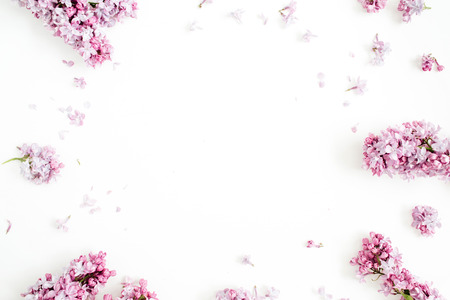 Frame of lilac flowers with space for text on white background. Flat lay, top view