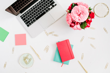 Flat Lay Home Office Desk. Female Workspace With Laptop, Pink And Red Roses  Bouquet