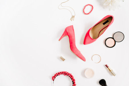 Woman fashion high heels and accessories collage on white background. Flat lay, top view feminine background.
