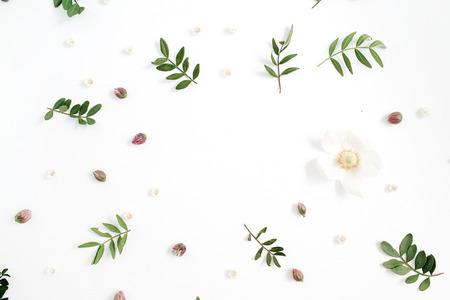 Bloemenkader met bloemknoppen, groene bladeren, takken op witte achtergrond. Plat leggen, bovenaanzicht. Stockfoto