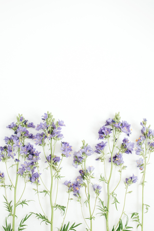 Floral pattern with bluebell flower, green leaves, branches on white background. Flat lay, top view. Valentines background