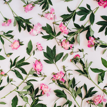 Floral pattern made of pink peonies, green leaves, branches on white background. Flat lay, top view. Valentines background. Floral background. Pattern of flowers. Stock Photo