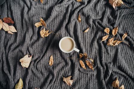 따뜻한 테리 격자 무늬에 우유와 건조가 단풍 커피. 가을 평평한 누워. 스톡 콘텐츠 - 86803522